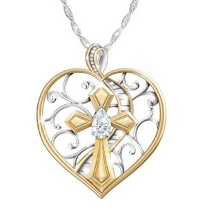 10Pcs Love heart Religious Cross heaven ladder Pendant Necklaces Europe and America faith Two-color plating Pendant T-107