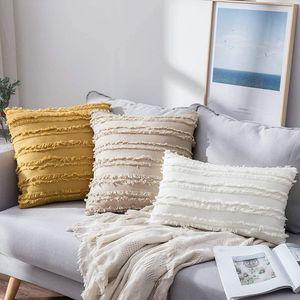 Amais Yellow Grey White Cushion Cover Nordic Style Handmade Tassel Square Pillow Case Cotton Pillow Cover 45x45cm Home Decoratio