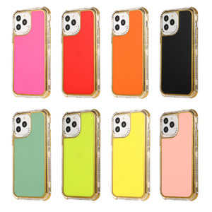 For iPhone 12 Pro Max Mini 11 X XS XR 6 7 8 Plus Transparent Hybrid Defender Phone Cover Gold Electroplating SHS Case
