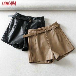 Tangada Femmes Jupe en cuir Brown PU Short avec une glissière à glissière de ceinture Femme High Taille haute taille Casual 1Y07 Y200403