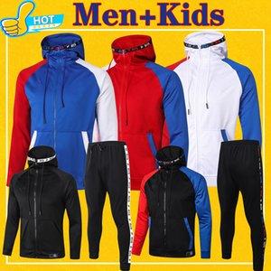 Paris Tam Zip Hoodie Ceket Futbol Kapşonlu Ter Ceket Futbol Eşofman Erkekler + Çocuklar 2020 2021 Eğitim Takım 20 21 Kış Pantolon Full Kit