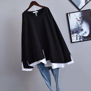 2020 Autumn amp;Winter New Korean Women Simple Black Oversize Fake Two piece Long sleeved Loose Slim T shirt Women Top Free Shipping