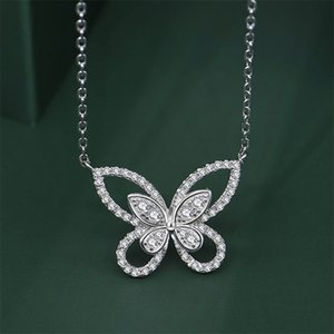 Charming Butterfly Diamond Pendant 100% Real 925 Sterling Silver Party Wedding Pendants Necklace For Women Bridal Jewelry