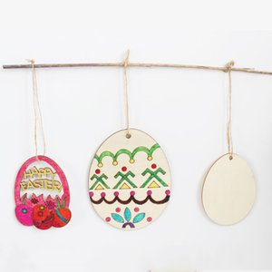 Partido de Pascua Decoraciones para el hogar Colgante 10 unids DIY Tallado Tallado Huevo Colgantes Colgantes Colgantes Ornamentos Creative Wooden Craft Party Favors VTKY2023