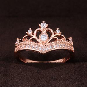 Nouvelle-Crown Forme Femmes Femmes Anneaux de fiançailles Rose Gold Couleur Fantaisie Proposition Anneaux pour Girl Graceful Cz Mode Bijoux
