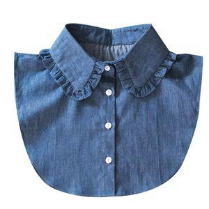 Ladies Shirt Fake Collar Fashion Street Fake Half Shirt Pure Cotton Washed Denim Doll Collar Stand