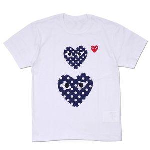 새로운 망 디자이너 티셔츠 CDG Play commes des garcons 폴카 도트 더블 하트 티셔츠 티셔츠 남자 여름 티
