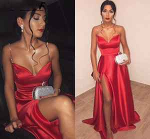 Arabic Aso Ebi Satin A Line Crystals Prom Gown Side Split Formal Party Dress Sexy Red Spaghetti Straps Formal Evening Dresses