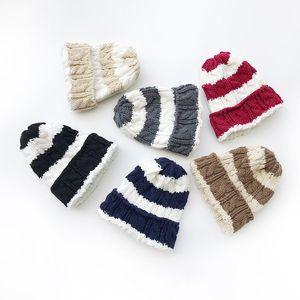 New Autumn Winter Kids Knitted Hat Twist Stripe Children Knitted Beanies Boys Girls Hats