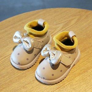 Chaussures bébé pour bébé Baby Fille Bow princesse Chaussures Polka Dot Bottes High Top Bottes pour enfants Chaussures d'enfant Hiver Z1215