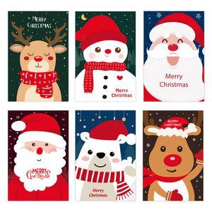 Carte de voeux de Noël Père Noël Bonhomme de neige Elk impression Cartes de voeux de cadeau de Noël Carte de voeux Fête de Noël Fournitures XD24190