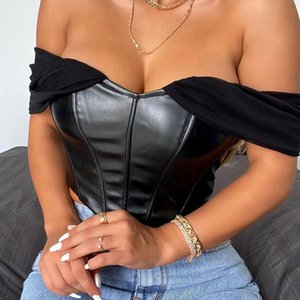 2020 Hot Sale Autumn And Winter Sexy Belly Button PU Leather Slim Waist Tube Top Vest Women Short Can Be Worn Outside