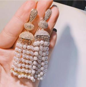 Fashion Long Pearls Tassel Earrings 925 Silver Dropping Zircon CZ Cubic Zirconia Earrings Wedding Bridal Jewelry Ornament Korean Prom Gift
