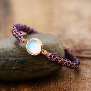 Beaded bracelet Stone wrapped bracelet Woman amethyst opal string woven Yoga friendship bracelet Bohemian jewelry lover jewelry