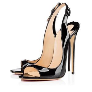Verano moda sexy sandalias 12 cm super alto tacón sandalia abierto toe stiletto tacones zapatos de mujer trasero tira vestido zapatos de fiesta tamaño grande 45