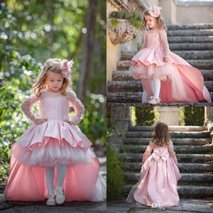 2018 Elegant Lovely Pink Arabic Dubai Weddings Flower Girl Dresses Hi-Lo Long Sleeve Appliques Sequins Big Bow Little Girls Pageant Gown