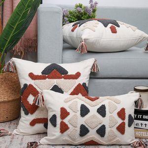 Cotton linen Geometric pattern Pillow Case creative decorative pillow covers home sofa cushion 45*45cm 30*50cm no filling