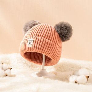 New Kids CC Trendy Hats Fur Poms Beanie Winter Label Luxury Cable Slouchy Skull Caps Fashion Leisure Big Kids Hats