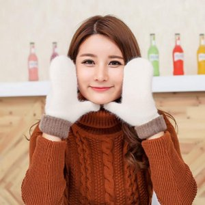 Wholesale-2020 New Fashion Winter Fingerless Gloves Mittens For Women Real Fur Pompom Warm Wool Gloves