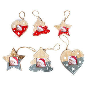 Christmas Tree Wood Photo Frame Pendant Xmas Hanging Pendant Ornament Home Decor 2021 New Year Christmas Decoration