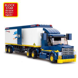 Blockstar City Series Building Blocks Freight Car Model Juguetes Jouets Pour Enfants For Kid DIY Toys Children's Christmas Gift