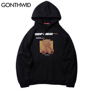 Gonthwid Toy Bear Print Fleece Hoodies Sweatshirts Harajuku Streetwear Hip Hop Casual Pullover Hooded Tops Men Fashion Tops Y201123