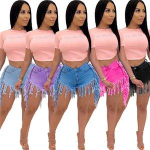 Cintura alta borla denim shorts womens desgastado retro shorts shorts verão moda sexy mulheres roupas