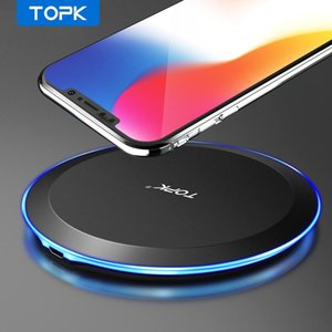 TOPK B46W 10W Wireless Charger Adapter 5V 2A USB Charging Pad For iPhnoe X XS MAX XR Fast Charging For Samsung S8 S9 S10 Plus FY7508
