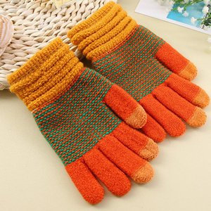 Wholesale-New Fashion Mobile Phone Touch Screen Knitted Wrist Cover Two-color Patchwork Winter Outdoor Warm Men Women Gloves Christmas