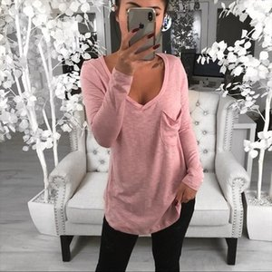 2019 Suit dress Autumn Sexy V Lead Easy Pocket Leisure Time Long Sleeve T shirt tshirt women