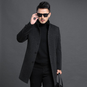 coat of 2020 autumn winters in long middle-aged collar men's cultivate morality woolen cloth cloth coat trench