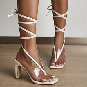 2020 Summer Women 9.5cm High Heels Strappy Block Heels Sandals Fetish Transparent Sandles Lady Stripper Sexy Up Toe Chunky Shoes1