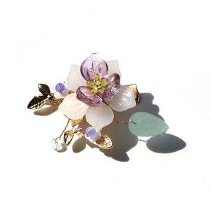 Clip per capelli barrette etnico viola da sposa floreale floreale foglia oro clip in vetro vintage gioielli copricapo per matrimonio