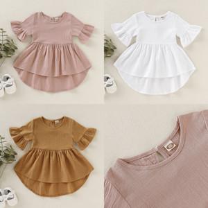Solid Color Dress Toddler Flare Sleeve Fashion Simplicity Versatile Children Baby Girl Dresses Summer Hot Sale 24tya K2