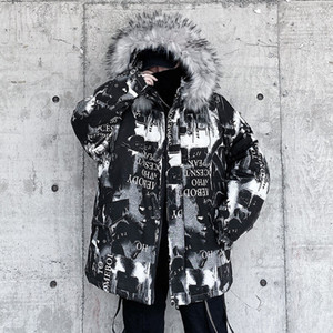Hybskr Men's Vintage Casual Oversize Parkas Graphic Printed Woman Parka Hooded Warm Thicken Zipper Fashion Man Jackets 201023