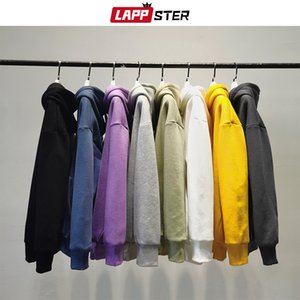LAPPSTER Men Solid Harajuku Hooded Hoodies 2020 Autumn Mens Korean Fashions Colorfuls Fleece Sweatshirts Couple White Hoodie 5XL Y1112