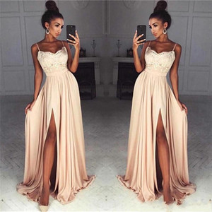 2021 Champagne Lace Chiffon Prom Dresses Sexy High Split Spaghetti Straps Evening Party Gowns Arabic Formal Long Vestidos de fiesta AL7801