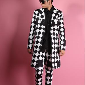 2020 Big Rhombus Maschio Tralicissise Vision Geometrica Versione sottile La lunga abita maschile vestita con 3CU3 da uomo