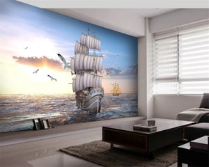 3d Landscape Wallpaper 3d Wallpaper Wall European Style Smooth Sailing Sea Sunrise Scenery Background Wall 3d Mural Wall Paper