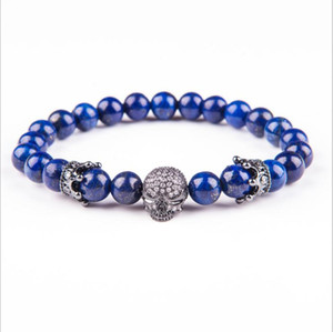Natural Lava Stone Beads Bracelet Bangles Skull Crown Volcanic Stone Bracelets Men Women Healthy Energy Jewelry