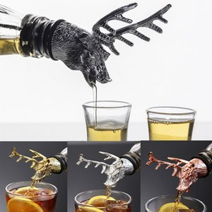 4 colores de aleación de zinc de la aleación creativa cabeza cabeza de vino botella de vino de corcho por ciento de ciervo stag vino pourer aireador barware decoración barra herramientas DWC4034