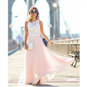 2019 Womens Casual Lace Loose Long Solid Dress Off the Shoulder Formal Prom Party Wedding Bridesmaid Sleeveless
