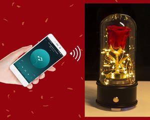 Бессмертные цветы со стеклянной крышкой Bluetooth-динамик Рождество День Святого Валентина подарок для подруги Музыкальная коробка 3 цвета