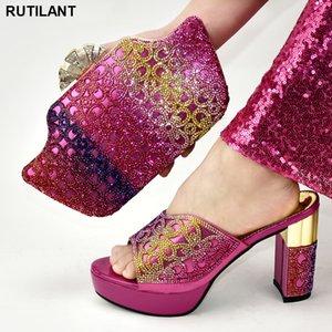 Chegada nova Africano Correspondência Sapatos e Sacos Italiano em Mulheres Sapatos E Saco Definidos Set Africano Sets 2020 Plus Size Shoes Calcanhar Mulheres C1120