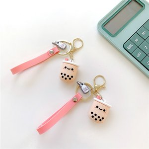 Cute Pendant Mobile Phone Charm Boba Bubble Tea Keychain Ring Airpods Lanyard for Key Id Card Usb Strap