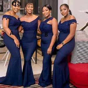 Navy Blue Long Bridesmaid Dresses 2021 V Neck Off The Shoulder Applique Lace Wedding Party Gowns Cheap Women Dress Plus Size