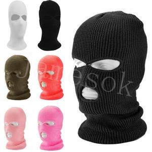 Winter 3 Hole 2 Hole Knitted Headwears Cycling Full Face Mask Outdoor Earflaps Headgear Fashion Cap Headwear Accessories DB265