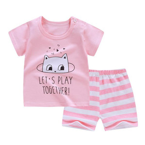 New Cotton Summer Baby Children Soft Shorts Suit t-shirt Boy Girl kids Printed cartoon infant clothes for 0-6Y
