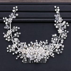 GETNOIVAS Luxury Tiara Shiny Crystal Pearl Beads Hair Comb Crown Bride Hairband Headband Bridal Wedding Hair Accessory SL Q1124