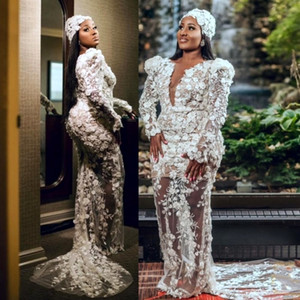 Aso Ebi Plus Size Evening Dresses V Neck Illusion Long Sleeves See Through Sexy Prom Dress Mermaid Style African Women robe de soirée